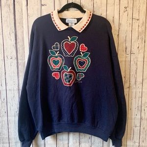 Vintage 90's Apples Sweatshirt w/ Collar